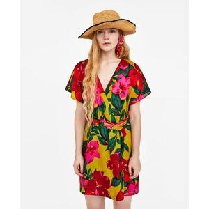 Zara Tropical Linen Dress